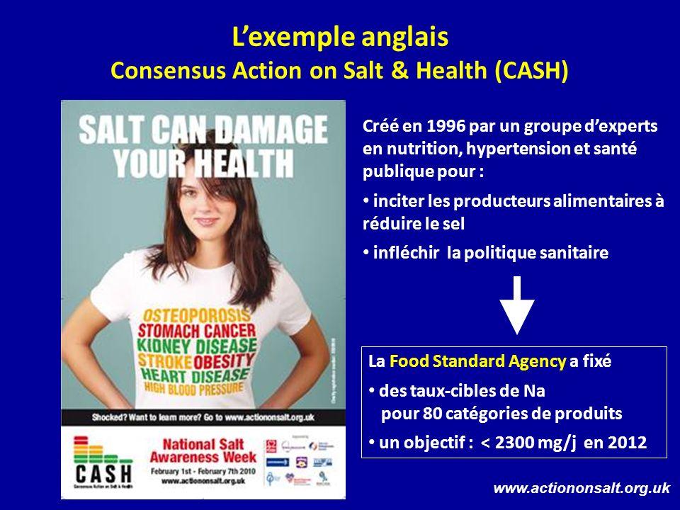 Lexemple anglais Consensus Action on Salt & Health (CASH) Créé en 1996 par un groupe dexperts en nutrition, hypertension et santé publique pour : inci