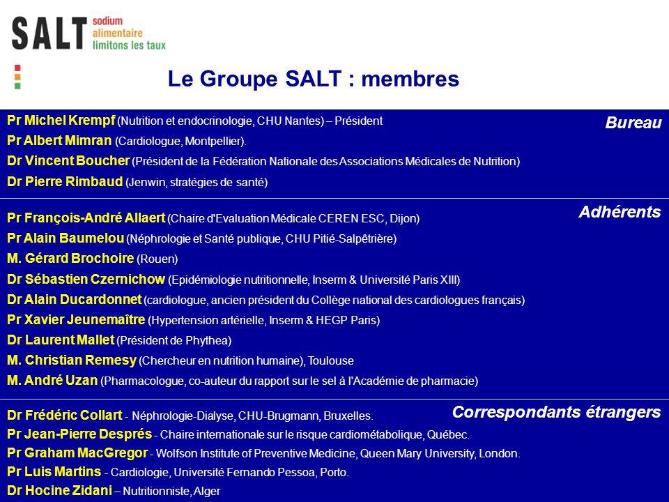 Le Groupe SALT : membres Pr Michel Krempf (Nutrition et endocrinologie, CHU Nantes) – Président Pr Albert Mimran (Cardiologue, Montpellier). Dr Vincen