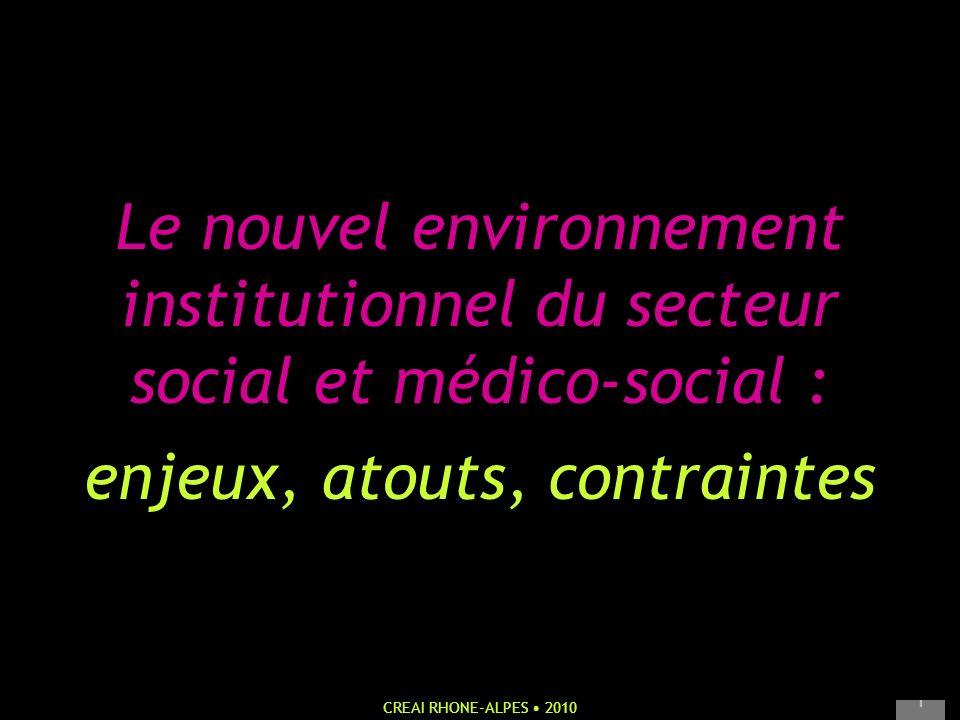 CREAI RHONE-ALPES 2010 1 Le nouvel environnement institutionnel du secteur social et médico-social : enjeux, atouts, contraintes
