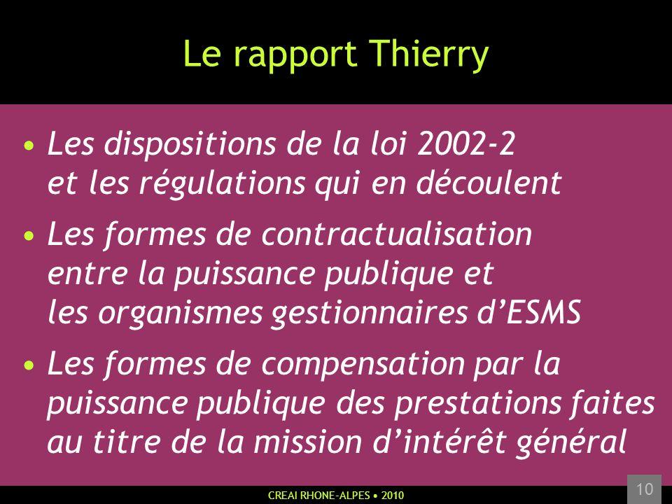 CREAI RHONE-ALPES 2010 10 Le rapport Thierry Les dispositions de la loi 2002-2 et les régulations qui en découlent Les formes de contractualisation en