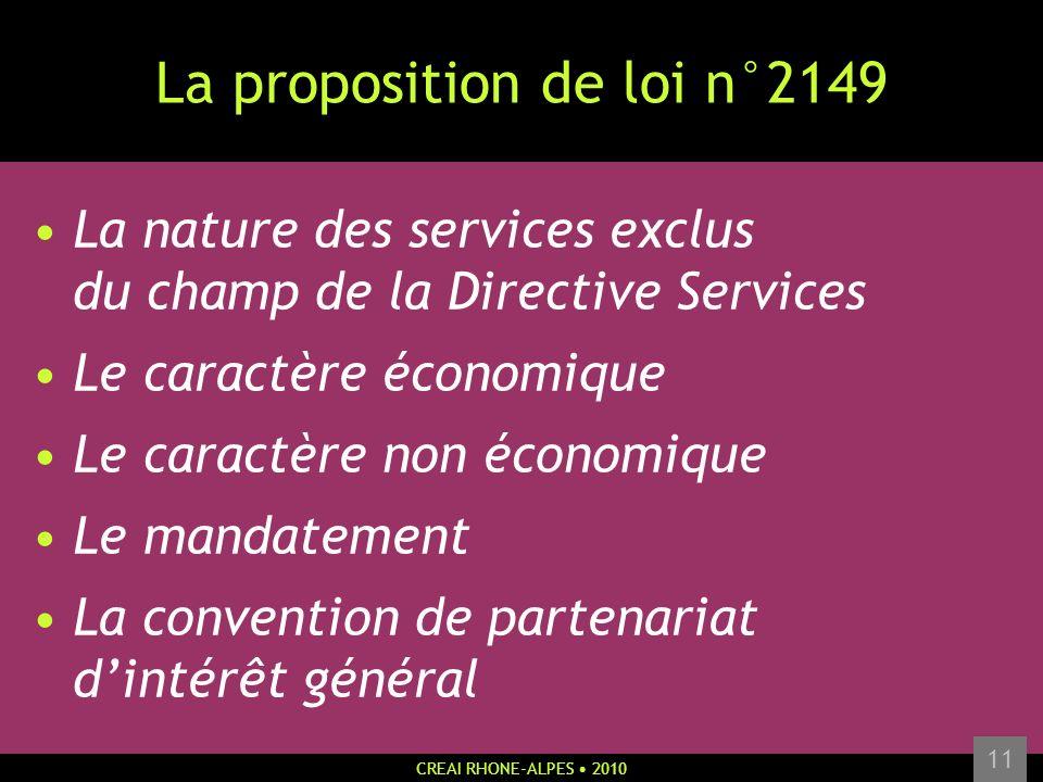 CREAI RHONE-ALPES 2010 11 La proposition de loi n°2149 La nature des services exclus du champ de la Directive Services Le caractère économique Le cara
