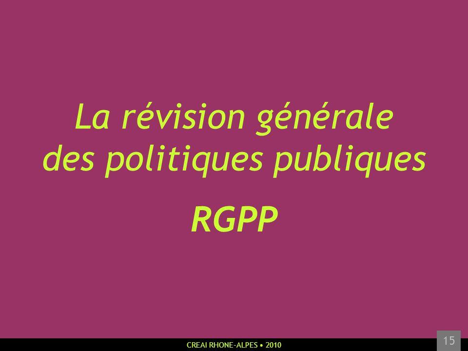 CREAI RHONE-ALPES 2010 15 La révision générale des politiques publiques RGPP
