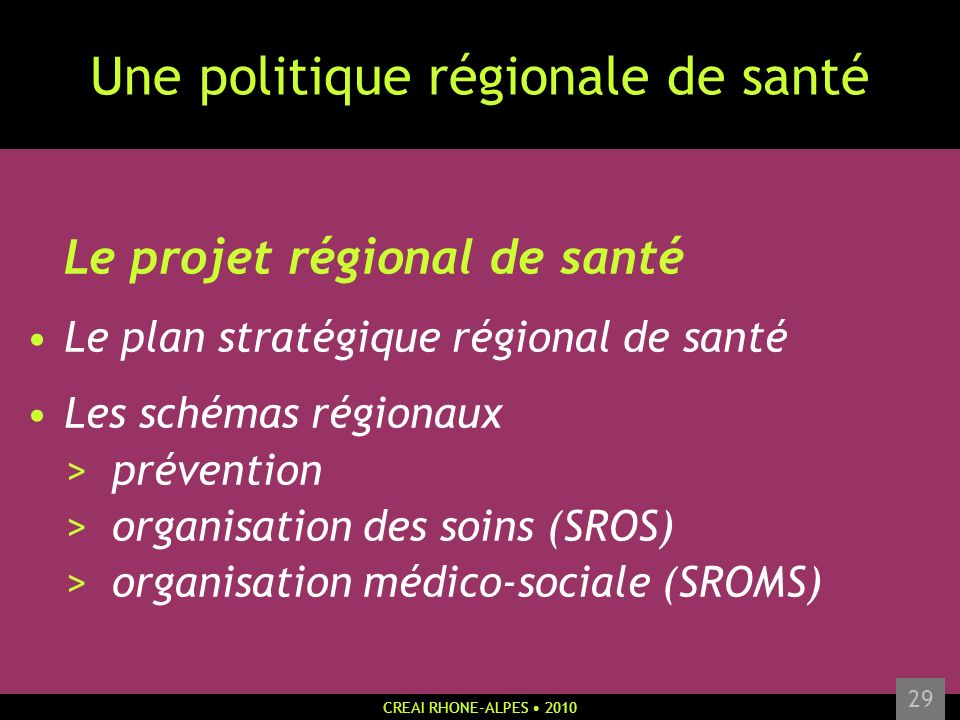 CREAI RHONE-ALPES 2010 29 Une politique régionale de santé Le projet régional de santé Le plan stratégique régional de santé Les schémas régionaux > p