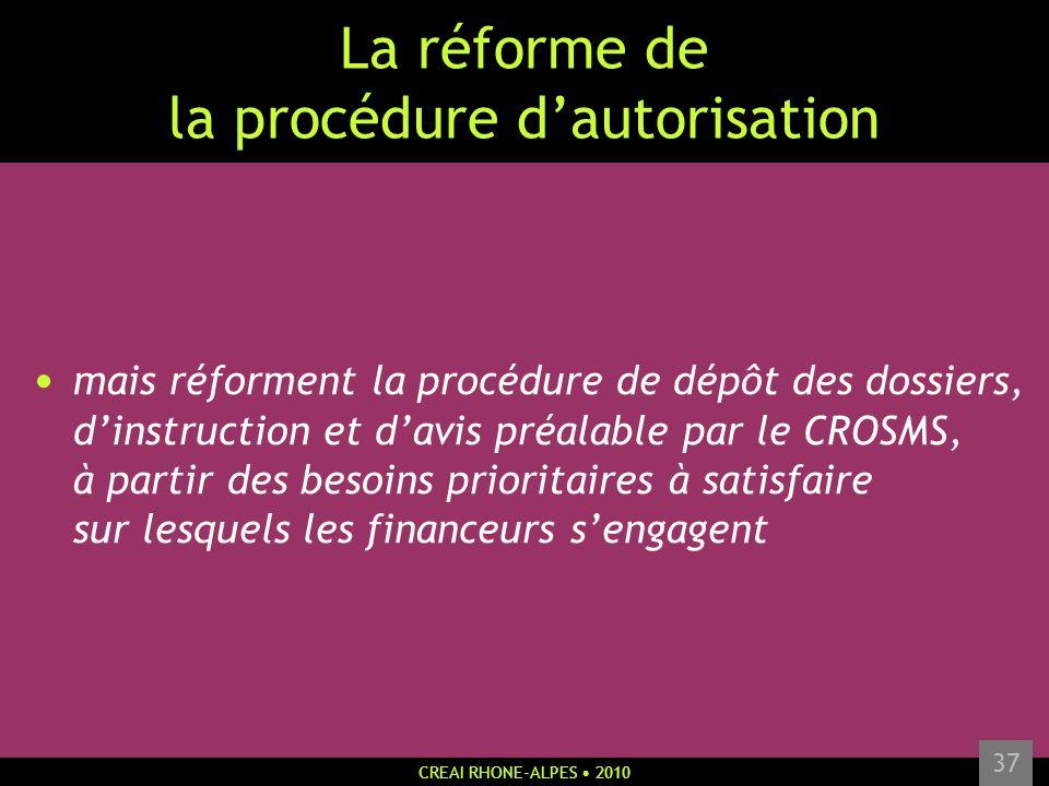 CREAI RHONE-ALPES 2010 37 La réforme de la procédure dautorisation mais réforment la procédure de dépôt des dossiers, dinstruction et davis préalable
