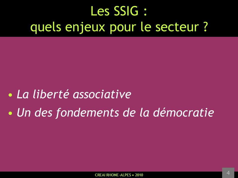 CREAI RHONE-ALPES 2010 4 Les SSIG : quels enjeux pour le secteur ? La liberté associative Un des fondements de la démocratie