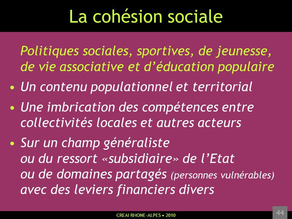 CREAI RHONE-ALPES 2010 44 La cohésion sociale Politiques sociales, sportives, de jeunesse, de vie associative et déducation populaire Un contenu popul