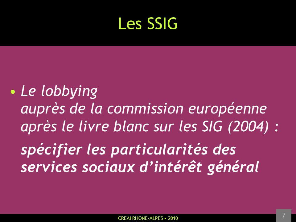 CREAI RHONE-ALPES 2010 7 Les SSIG Le lobbying auprès de la commission européenne après le livre blanc sur les SIG (2004) : spécifier les particularité