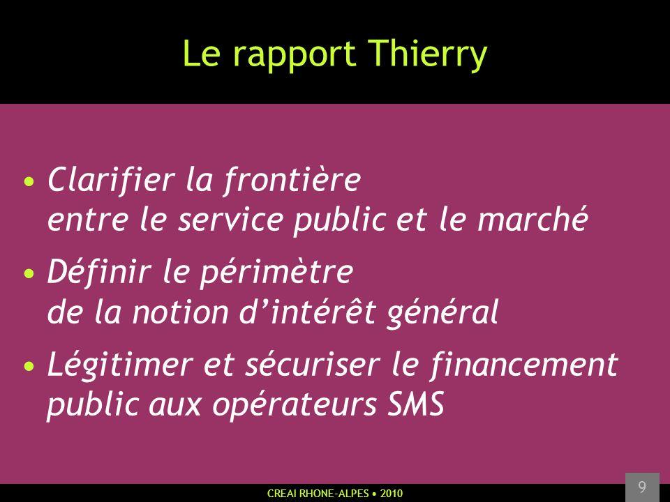 CREAI RHONE-ALPES 2010 9 Le rapport Thierry Clarifier la frontière entre le service public et le marché Définir le périmètre de la notion dintérêt gén