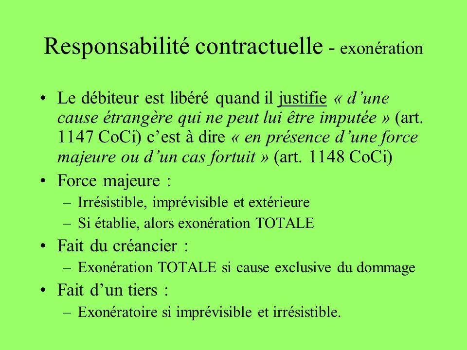Responsabilité contractuelle - exonération Le débiteur est libéré quand il justifie « dune cause étrangère qui ne peut lui être imputée » (art. 1147 C
