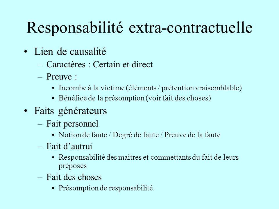 Responsabilité extra-contractuelle Lien de causalité –Caractères : Certain et direct –Preuve : Incombe à la victime (éléments / prétention vraisemblab