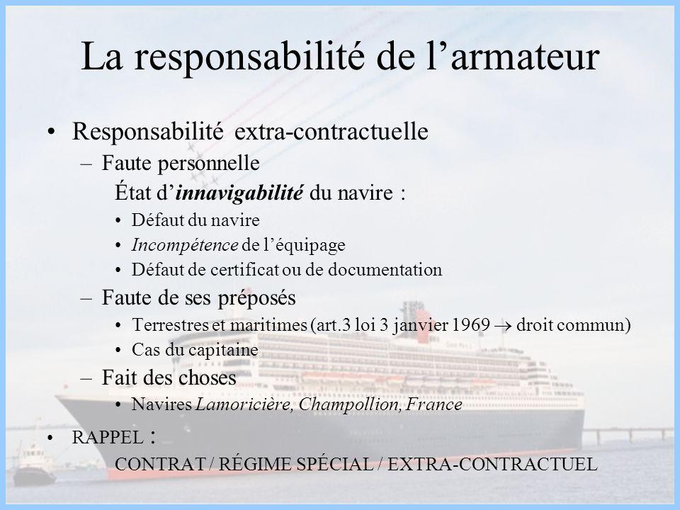 La responsabilité de larmateur Responsabilité extra-contractuelle –Faute personnelle État dinnavigabilité du navire : Défaut du navire Incompétence de
