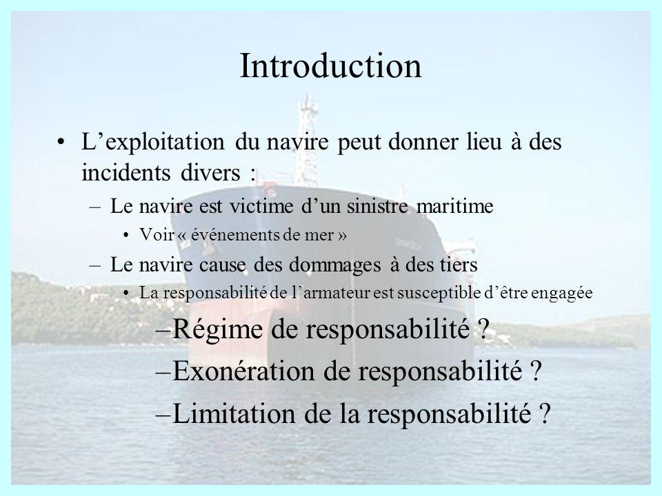Introduction Lexploitation du navire peut donner lieu à des incidents divers : –Le navire est victime dun sinistre maritime Voir « événements de mer »