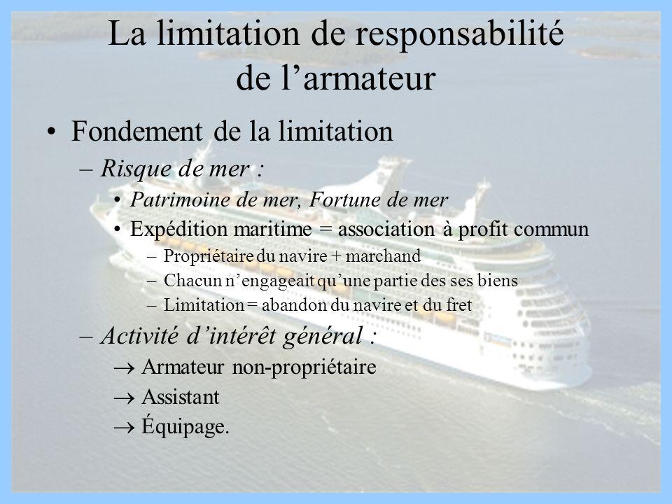 La limitation de responsabilité de larmateur Fondement de la limitation –Risque de mer : Patrimoine de mer, Fortune de mer Expédition maritime = assoc