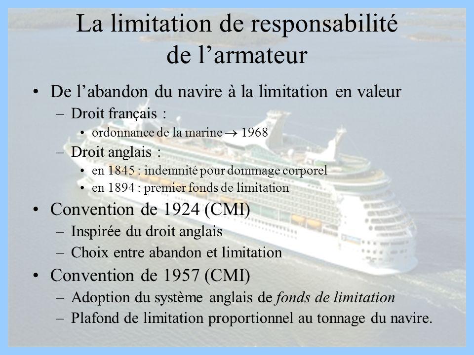 La limitation de responsabilité de larmateur De labandon du navire à la limitation en valeur –Droit français : ordonnance de la marine 1968 –Droit ang