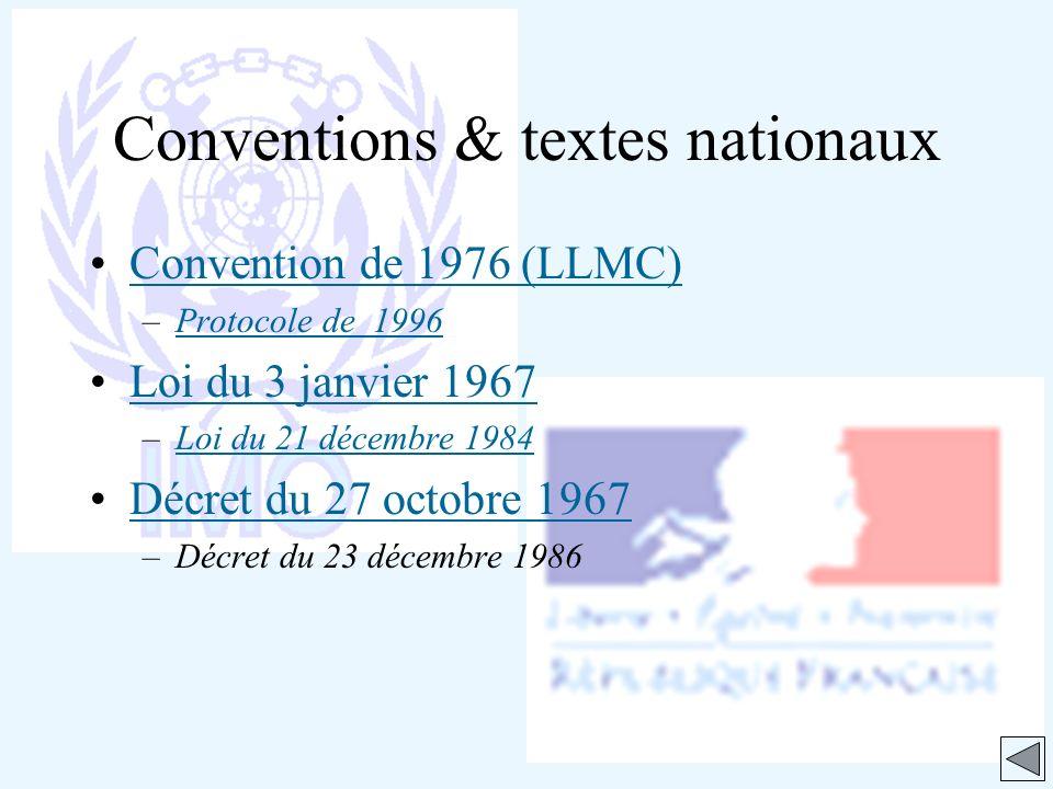 Convention de 1976 (LLMC) –Protocole de 1996Protocole de 1996 Loi du 3 janvier 1967 –Loi du 21 décembre 1984Loi du 21 décembre 1984 Décret du 27 octob