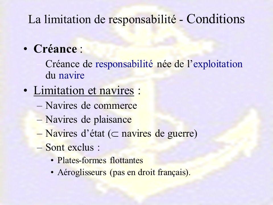 La limitation de responsabilité - Conditions Créance : –Créance de responsabilité née de lexploitation du navire Limitation et navires : –Navires de c