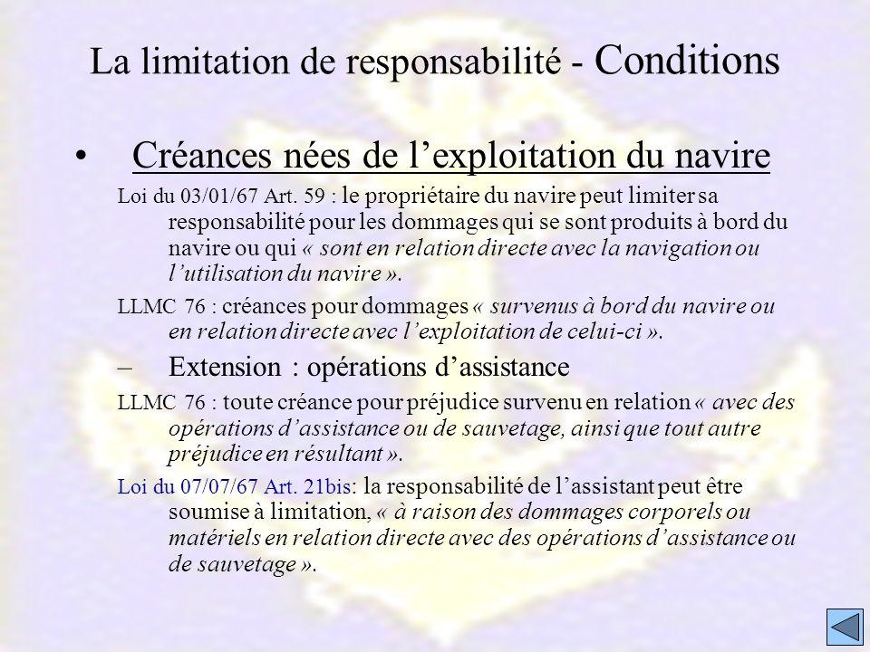 La limitation de responsabilité - Conditions Créances nées de lexploitation du navire Loi du 03/01/67 Art. 59 : le propriétaire du navire peut limiter