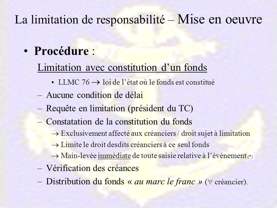 La limitation de responsabilité – Mise en oeuvre Procédure : Limitation avec constitution dun fonds LLMC 76 loi de létat où le fonds est constitué –Au