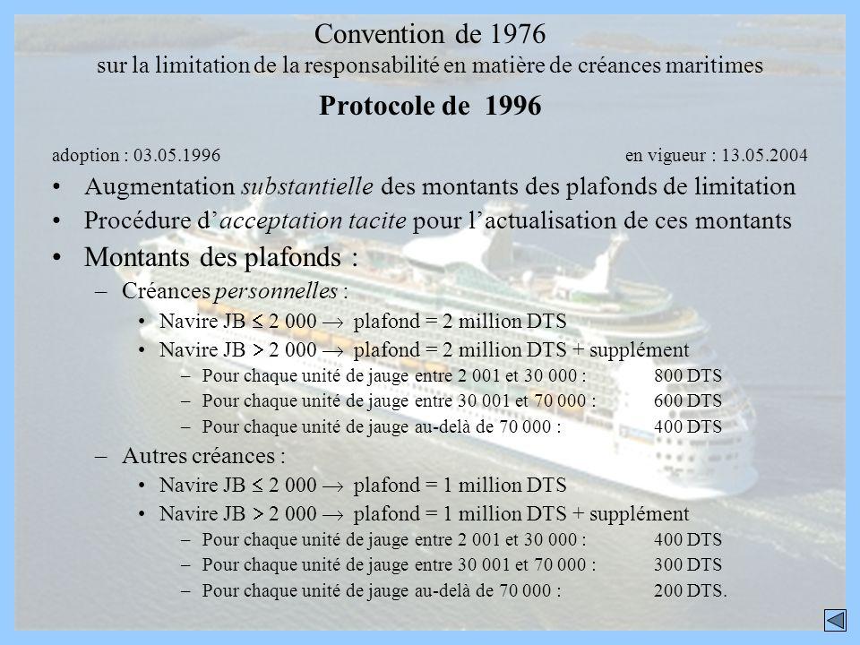 Convention de 1976 sur la limitation de la responsabilité en matière de créances maritimes Protocole de 1996 adoption : 03.05.1996 en vigueur : 13.05.