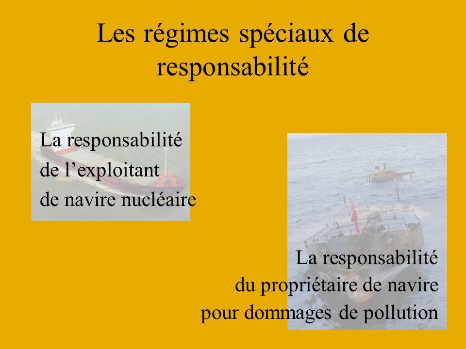 Les régimes spéciaux de responsabilité La responsabilité de lexploitant de navire nucléaire La responsabilité du propriétaire de navire pour dommages