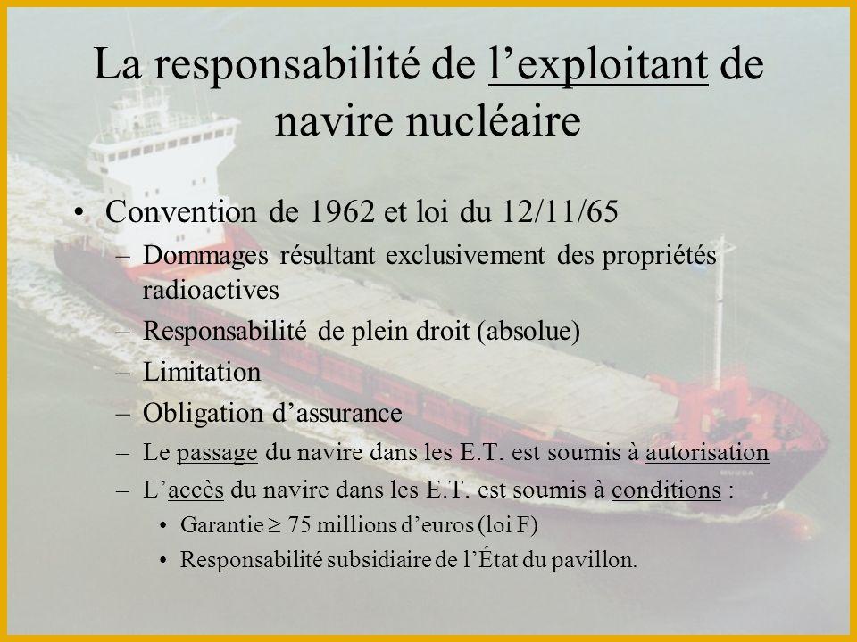 La responsabilité de lexploitant de navire nucléaire Convention de 1962 et loi du 12/11/65 –Dommages résultant exclusivement des propriétés radioactiv