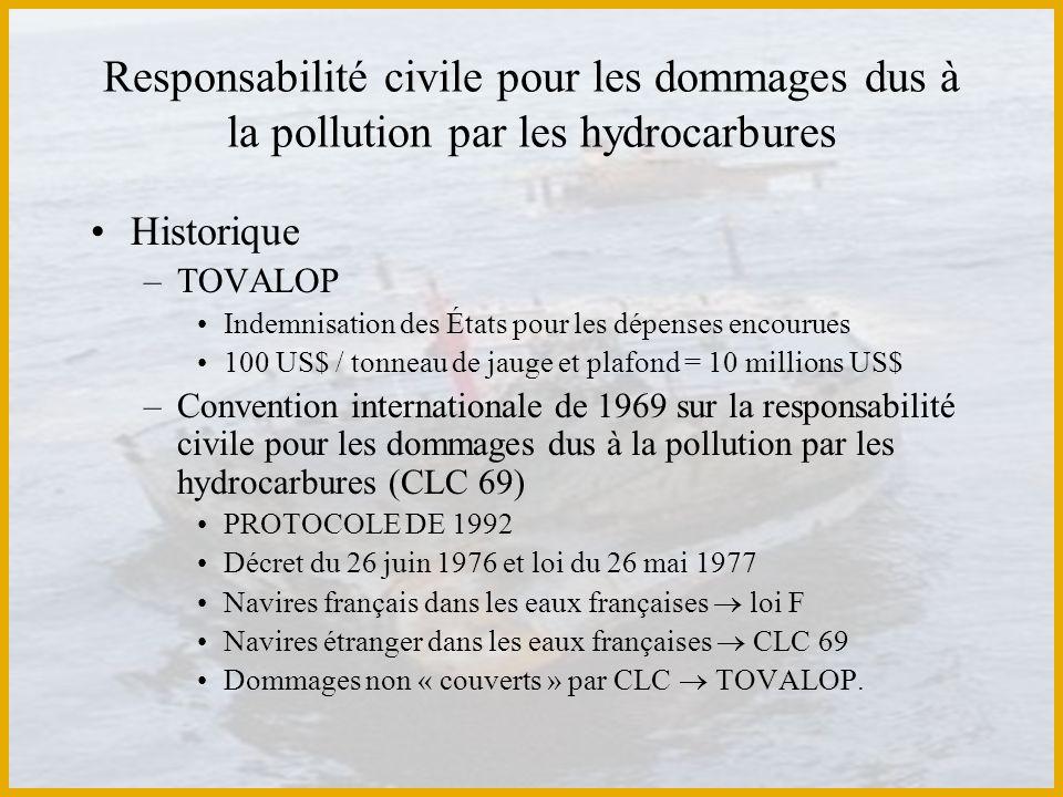 Responsabilité civile pour les dommages dus à la pollution par les hydrocarbures Historique –TOVALOP Indemnisation des États pour les dépenses encouru
