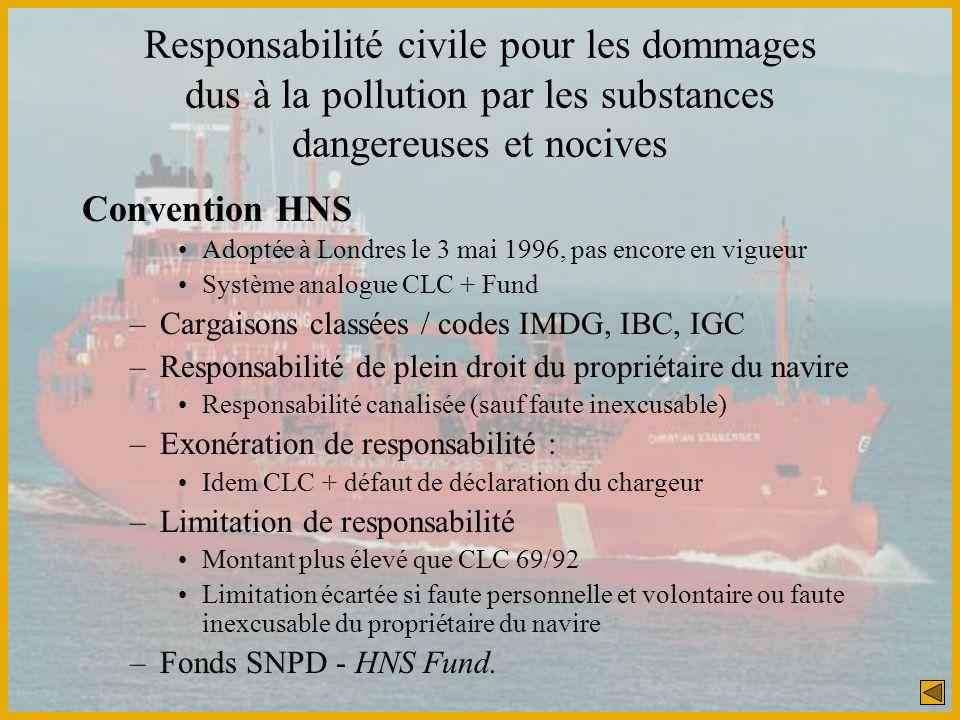 Responsabilité civile pour les dommages dus à la pollution par les substances dangereuses et nocives Convention HNS Adoptée à Londres le 3 mai 1996, p