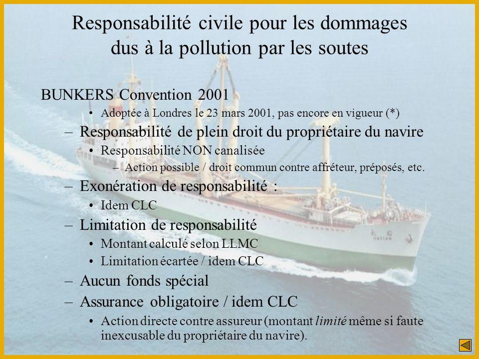 Responsabilité civile pour les dommages dus à la pollution par les soutes BUNKERS Convention 2001 Adoptée à Londres le 23 mars 2001, pas encore en vig