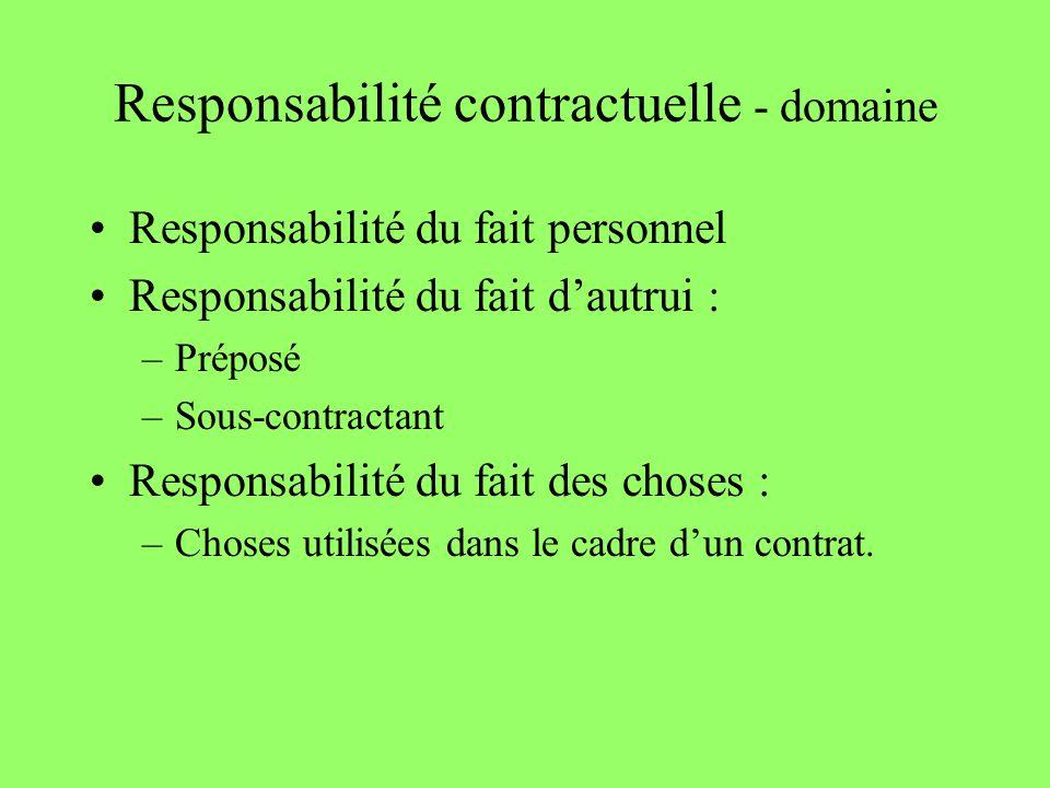 Responsabilité contractuelle - domaine Responsabilité du fait personnel Responsabilité du fait dautrui : –Préposé –Sous-contractant Responsabilité du