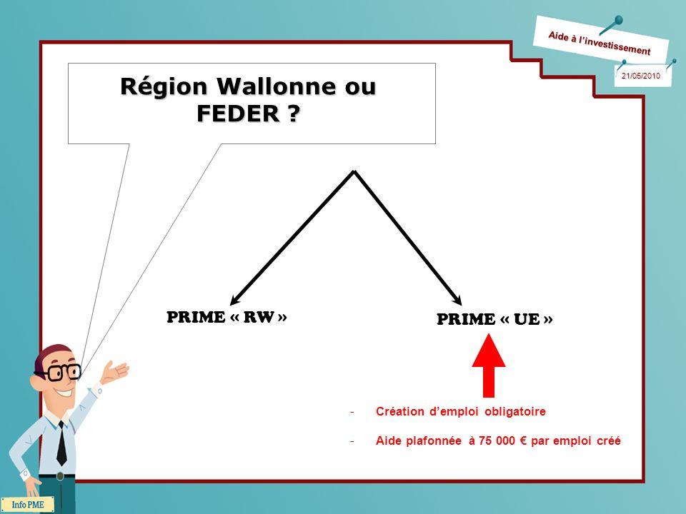 Aide à linvestissement 21/05/2010 Région Wallonne ou FEDER ? PRIME « RW » PRIME « UE » -Création demploi obligatoire -Aide plafonnée à 75 000 par empl