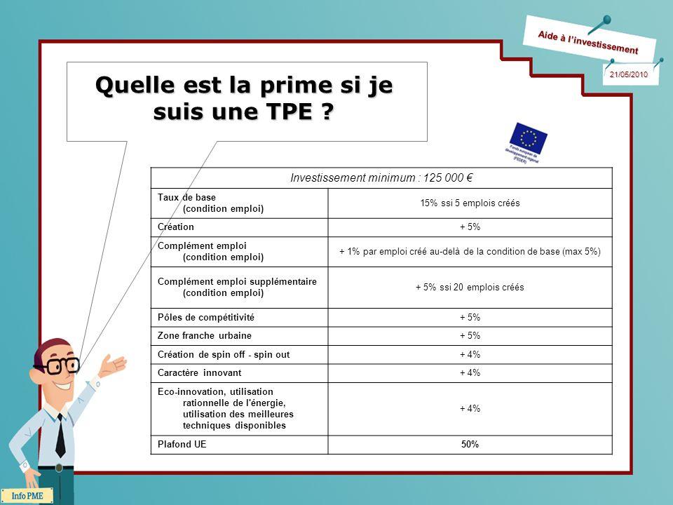 Aide à linvestissement 21/05/2010 Quelle est la prime si je suis une TPE .