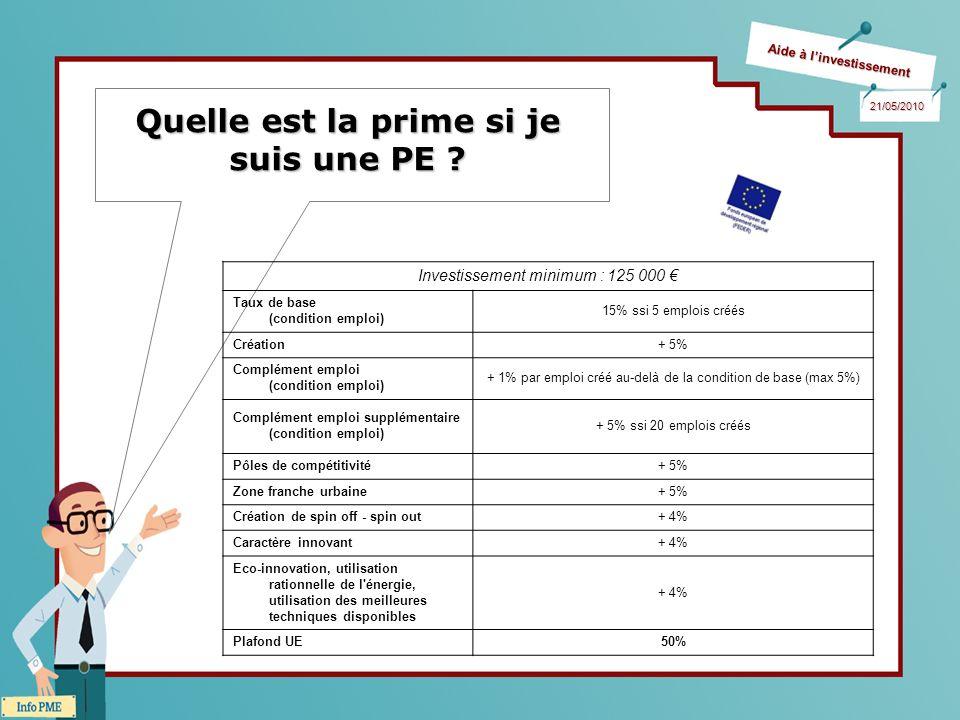 Aide à linvestissement 21/05/2010 Quelle est la prime si je suis une PE ? Investissement minimum : 125 000 Taux de base (condition emploi) 15% ssi 5 e
