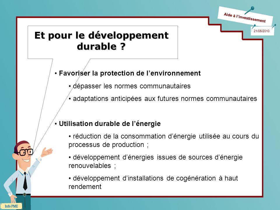 Aide à linvestissement 21/05/2010 Et pour le développement durable ? Favoriser la protection de lenvironnement dépasser les normes communautaires adap