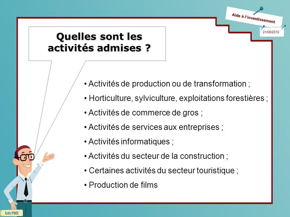 Aide à linvestissement 21/05/2010 Quelles sont les activités admises ? Activités de production ou de transformation ; Horticulture, sylviculture, expl