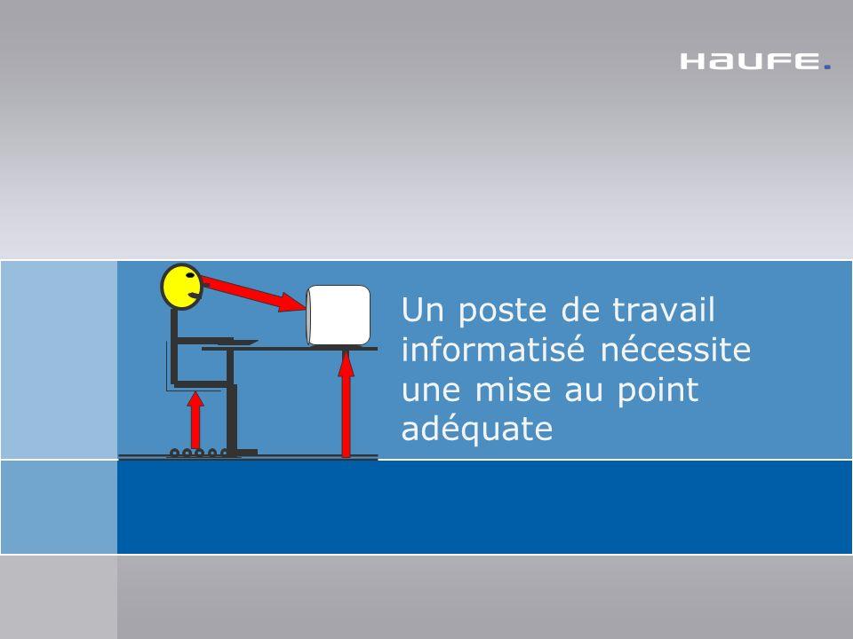 2 Un poste de travail informatisé nécessite une mise au point adéquate- Haufe Index: 2319310 - Version: 1.0.0.1 - Stand: 16.04.2010 Un poste de travail informatisé ne rend pas malade, Un poste de travail mal installé rend malade.