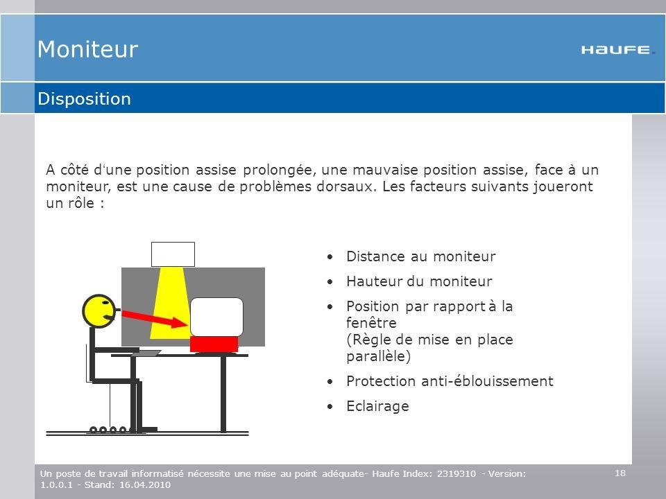 18 Un poste de travail informatisé nécessite une mise au point adéquate- Haufe Index: 2319310 - Version: 1.0.0.1 - Stand: 16.04.2010 Disposition Dista