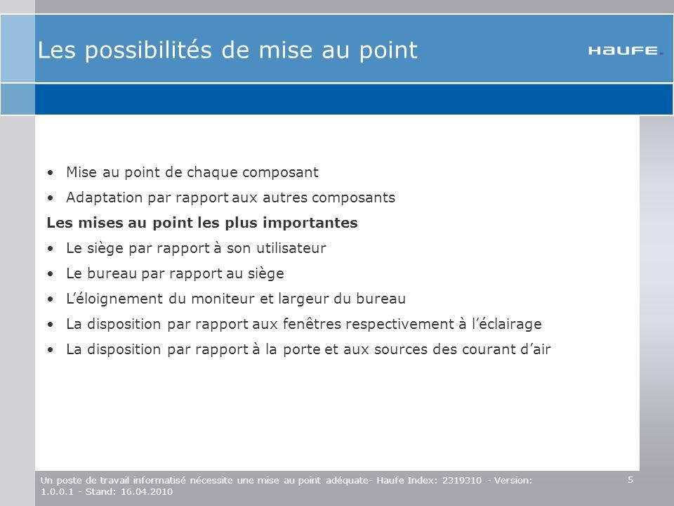5 Un poste de travail informatisé nécessite une mise au point adéquate- Haufe Index: 2319310 - Version: 1.0.0.1 - Stand: 16.04.2010 Mise au point de c