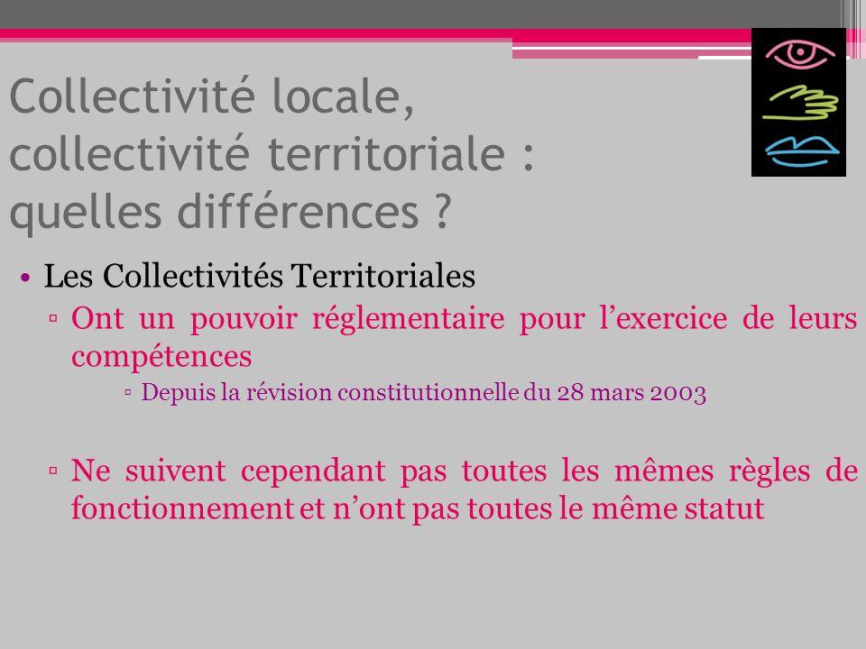 Collectivité locale, collectivité territoriale : quelles différences ? Les Collectivités Territoriales Ont un pouvoir réglementaire pour lexercice de