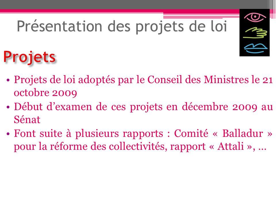Présentation des projets de loi Projets de loi adoptés par le Conseil des Ministres le 21 octobre 2009 Début dexamen de ces projets en décembre 2009 a