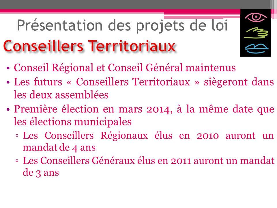 Présentation des projets de loi Conseil Régional et Conseil Général maintenus Les futurs « Conseillers Territoriaux » siègeront dans les deux assemblé