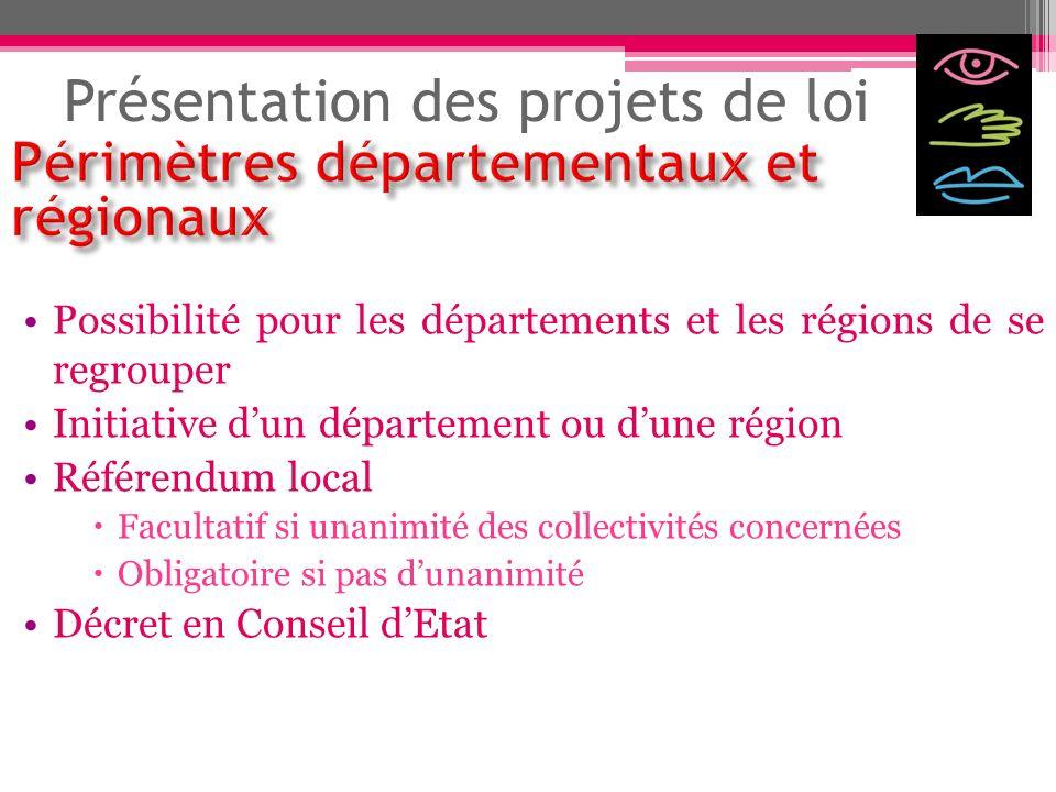 Présentation des projets de loi Possibilité pour les départements et les régions de se regrouper Initiative dun département ou dune région Référendum