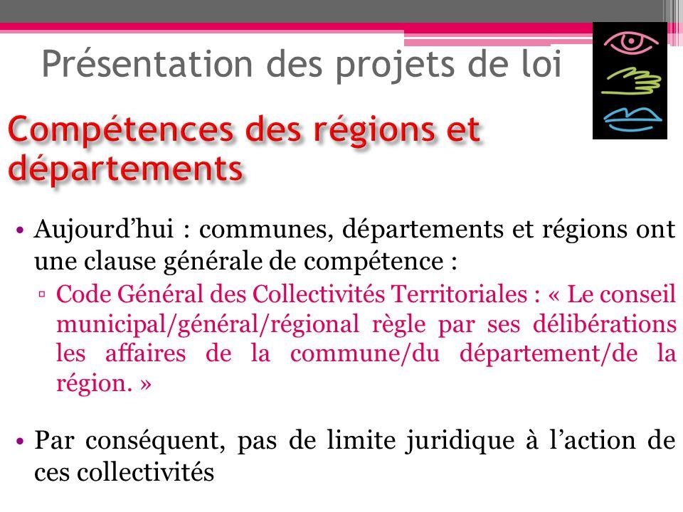 Présentation des projets de loi Aujourdhui : communes, départements et régions ont une clause générale de compétence : Code Général des Collectivités