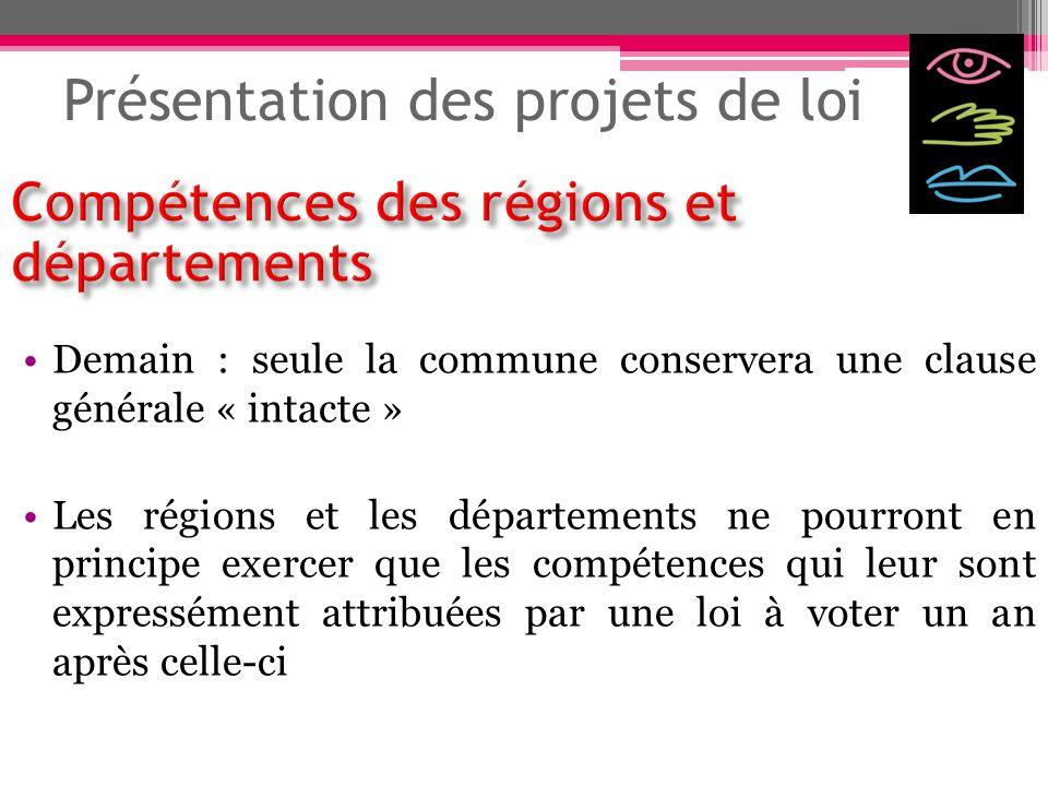 Présentation des projets de loi Demain : seule la commune conservera une clause générale « intacte » Les régions et les départements ne pourront en pr