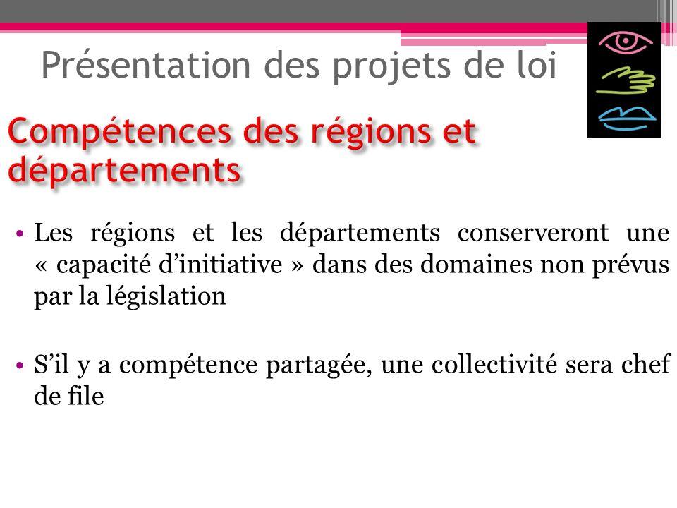Présentation des projets de loi Les régions et les départements conserveront une « capacité dinitiative » dans des domaines non prévus par la législat