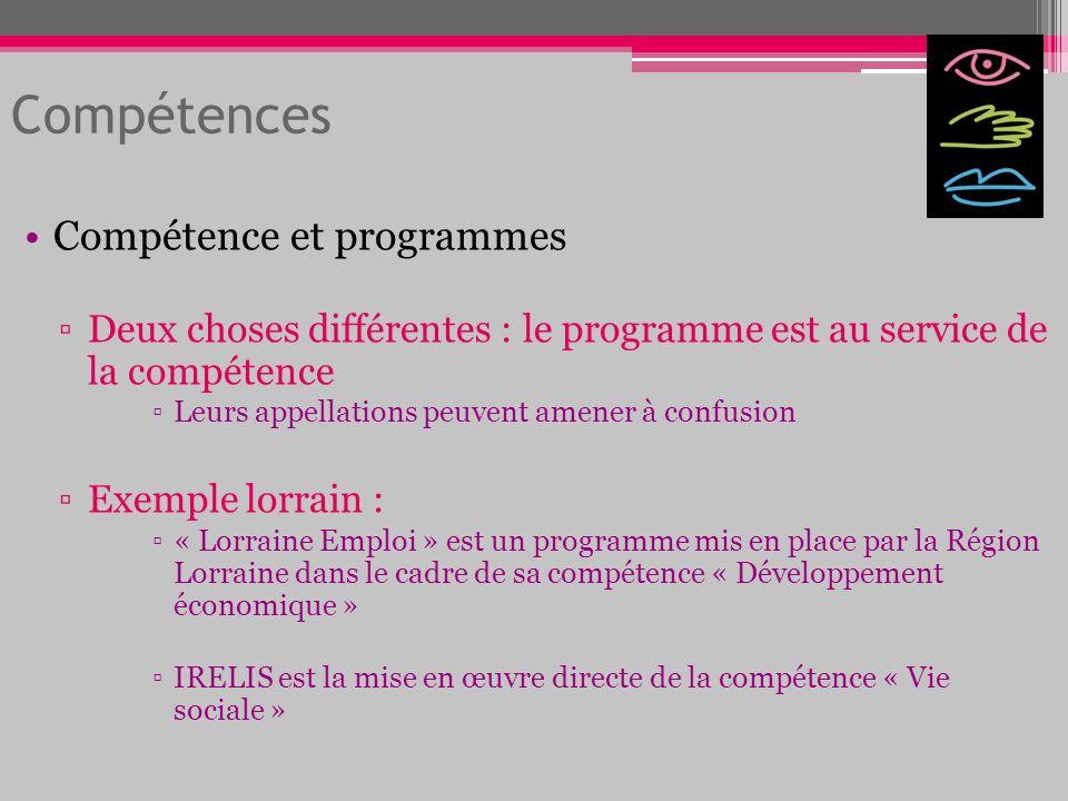 Compétence et programmes Deux choses différentes : le programme est au service de la compétence Leurs appellations peuvent amener à confusion Exemple