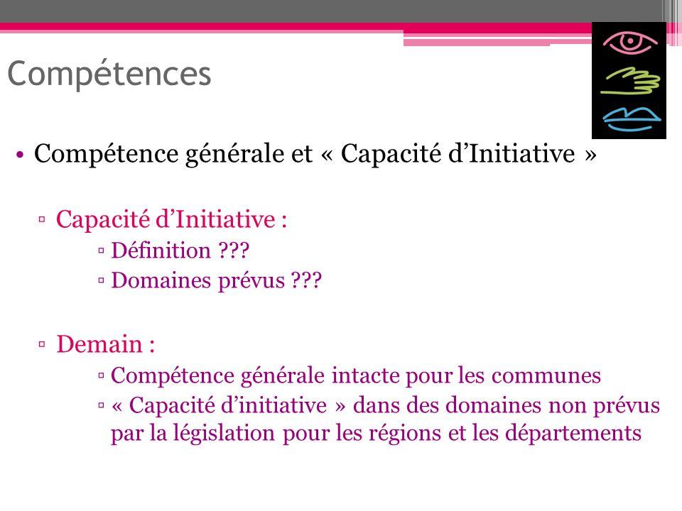 Compétence générale et « Capacité dInitiative » Capacité dInitiative : Définition ??? Domaines prévus ??? Demain : Compétence générale intacte pour le