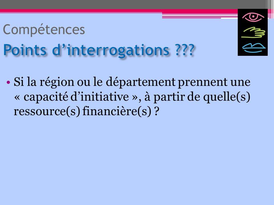 Si la région ou le département prennent une « capacité dinitiative », à partir de quelle(s) ressource(s) financière(s) ? Compétences