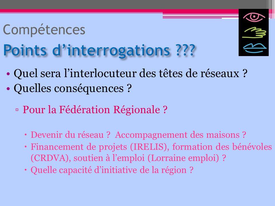 Quel sera linterlocuteur des têtes de réseaux ? Quelles conséquences ? Pour la Fédération Régionale ? Devenir du réseau ? Accompagnement des maisons ?