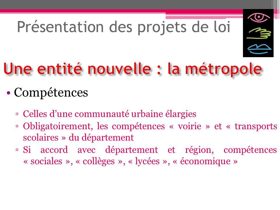 Présentation des projets de loi Compétences Celles dune communauté urbaine élargies Obligatoirement, les compétences « voirie » et « transports scolai