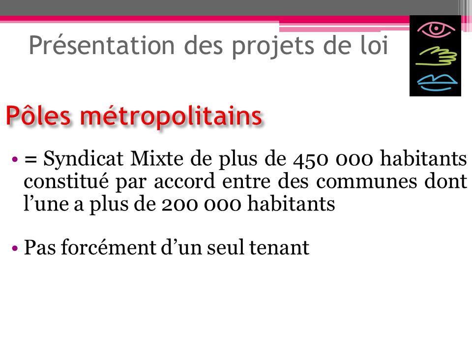 Présentation des projets de loi = Syndicat Mixte de plus de 450 000 habitants constitué par accord entre des communes dont lune a plus de 200 000 habi